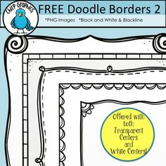 Enjoy these FREE hand-drawn doodle border designs for your creations. They're easy on the ink and they're created in a simple style so that your text and other images can take center stage!There are 10 borders in total - 5 borders offered in blackline (black lines with transparent center) and the same 5 borders offered in black and white (black lines with white fill).