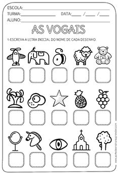 Atividade pronta - vogal inicial - A Arte de Ensinar e Aprender 1st Grade Worksheets, Activity Sheets, Education English, First Grade, Kids Learning, Professor, Activities For Kids, Kindergarten, Classroom