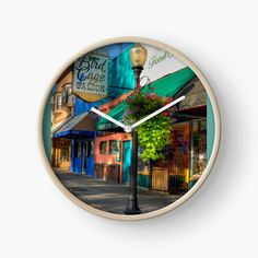 'Historical Whiskey Row Prescott Arizona' Clock by K D Graves Photography Prescott Arizona, Quartz Clock Mechanism, Beautiful Sky, Hand Coloring, The Row, Whiskey, Mirror, Early Morning, Modern