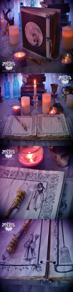 """""""The Witching Moon"""" handcrafted binder style book of shadows with illustrated parchment pages. $66 by GypsyWytch Diaries on Etsy."""