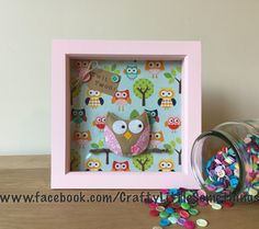 Hand sewn felt owl on pretty backing fabric. Beautiful box frame gift that can be personalised. www.facebook.com/CraftyLittleSomethings www.etsy.com/shop/CLS frames