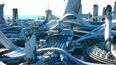 Futuristic City, Futuristic Technology, Futuristic Architecture, Sci Fi Genre, Sci Fi City, Future Buildings, Sci Fi Environment, Future City, Environmental Art