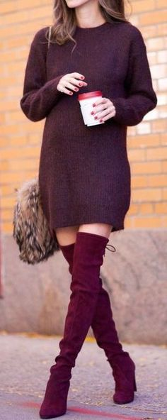 Street style | Plum sweater dress, over the knee boots and fur handbag