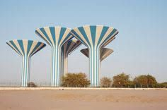 """virtualgeometry: """"Kuwait Water Towers 1976 / photo by Cajetan Barretto """" Dazzle Camouflage, Summer Stripes, Sunset Wallpaper, Tank Design, Amazing Race, Garden Architecture, Grid Design, Design Within Reach, Water Tower"""