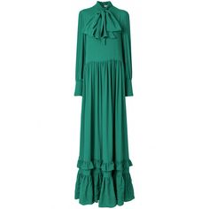 Piccione.Piccione ruffle trim maxi dress (1.750 BRL) ❤ liked on Polyvore featuring dresses, green, green dress, white maxi dress, green maxi dress, frill dress and frilly dresses