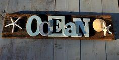 Ocean Word Sign/ Reclaimed Wood/Beach Art by MyHoneypickles