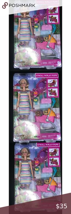 """Barbie """"Stroll n Play Pups"""" Blonde Brand New You are viewing a Barbie """"Stroll N Play"""" Blonde; New in box ... Please view all pics and ask any questions you may have prior to making a bid, offer, or purchase. The item in the pictures is the EXACT item you will receive if placing an order. Please do not hesitate to ask any questions or make offers !! I will accept almost all REASONABLE offers !! Thanks so much for your time and your interest!! Thanks for shipping with us at : """"THE SEACRET…"""