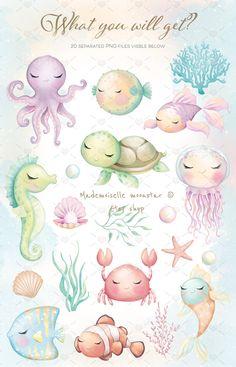 Blue Plants, Pink Plant, Safari Animals, Baby Animals, Cute Animals, Animal Drawings, Cute Drawings, Cute Turtles, Clip Art