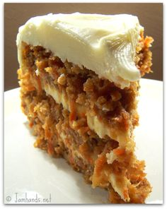 "Carrot pineapple cake with cream cheese frosting. ""Very moist, very delicious."""