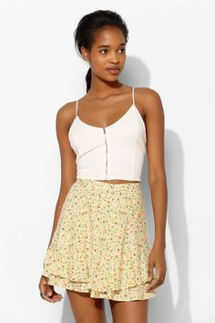 Pins And Needles Double-Layer Print Mini Skirt