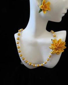 Cold Porcelain Necklace and Earrings by RosePetals for $50.00