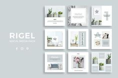 Rigel Social Media Pack by SlideStation on @creativemarket Social media creative design posts for promotion marketing design templates. Use it for quotes, tips, photos, etiquette, ideas, posts or for presentation your business agency, products sales or designs. Ready to use on Instagram, Pinterest, Facebook, Twitter your Blog or Website. #socialmedia #socialmediamarketing #instagram #design #stories #post #pinterest #feminine #story