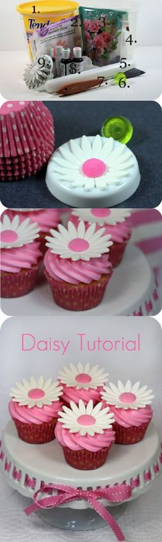Cute! dont know how much I like gum paste though.  Mothers Day Pink Daisy Cupcakes