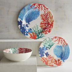 Breathe coastal life into your table with our Coral Reef Dinnerware. Crafted of shatter-resistant melamine, each piece adds a relaxed, seaside vibe to your gatherings. Craving seafood all of a sudden? Outdoor Dinnerware, Melamine Dinnerware, Dinnerware Sets, Tableware, Pintura Coral, Coral Painting, Dining Ware, Fish Plate, Plates On Wall