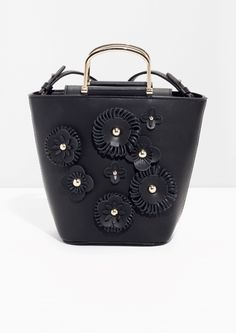 & Other Stories image 1 of Flower Leather Bucket Bag  in Black