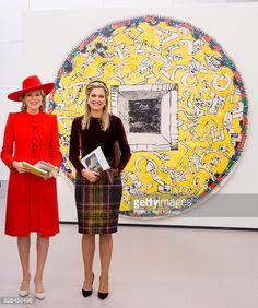 Queen Mathilde and Queen Maxima visit the exhibition Pierre Alechinsky Post Cobra at the Cobra Museum on Nov. 29, 2016.