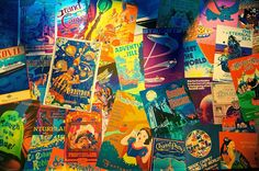 Can I have this on my wall? Posters from Tokyo Disneyland, Disneyland Paris, Disney Cruise Line and even old EPCOT!!