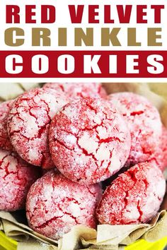 Easy Red Velvet Crinkle Cookies RED VELVET CRINKLE COOKIES RECIPE - Quick, easy, homemade from scratch with simple ingredients. These red velvet cookies are crispy on the outside but soft and chewy on the inside. Red Velvet Crinkle Cookies, Red Velvet Crinkles, Chocolate Crinkle Cookies, Red Velvet Sugar Cookies Recipe, Red Velvet Donuts, Red Velvet Desserts, Red Velvet Recipes, Cookie Recipes From Scratch, Easy Cookie Recipes