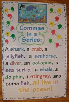 Commas in a series anchor chart