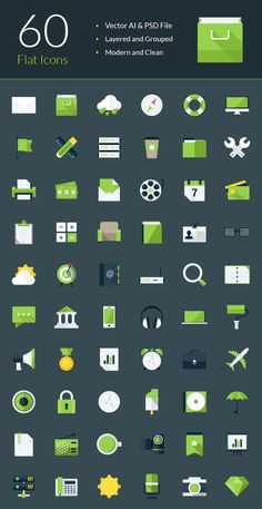 60 Modern Flat Icons - graphberry.com
