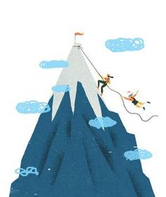 Illustration of two women climbing a mountain | It's oft