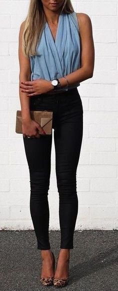casual style outfit: top + pants + bag + heels