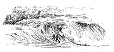 Surf sketch - fast ballpoint pen drawing of a surfer riding the famous supertubos wave  ( Peniche, Portugal )