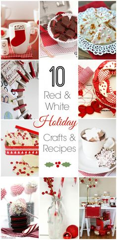 10 red & white holiday Christmas crafts and recipes. See more party ideas at CatchMyParty.com.