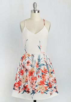 Calling All Wildflowers Dress. Clad in the vibrant floral print of this white dress, youre moved to commune with nature. #multi #modcloth