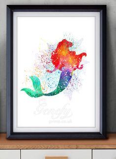 Disney Ariel Little Mermaid Watercolor Art / Painting Poster Print Wall Decor  https://www.etsy.com/shop/genefyprints