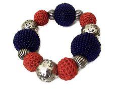 Nautical Bracelet Beaded Crochet and Tibetan Beads by BeadoRama123, £10.00