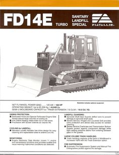 Fiat-Allis FD14E Dozer Brochure Heavy Construction Equipment, Heavy Equipment, Train Truck, Vintage Tools, Big Time, Hampshire, Fiat, Crane, Trailers