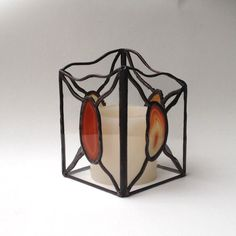 Stained Glass Candle Lantern Clear Glass by GreenhouseGlassworks
