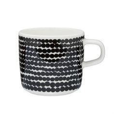 Räsymatto Kaffeetasse - schwarz-weiß - Marimekko