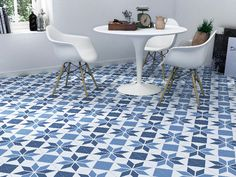 Picasso Blue Star Tile by Alhambra Home & Garden Old Kitchen Tables, Kitchen Linens, Kitchen Decor, Dining Table, Kitchen Layout, Rustic Kitchen, Design Kitchen, Kitchen Flooring, Kitchen Furniture