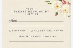 Include a space on the RSVP where guests can request songs to play at the reception. http://www.jexshop.com/