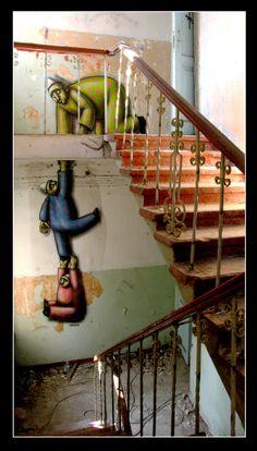 Echappatoire... quand l'escalier est trop mal en point ! / Street Art. / By Kislow.