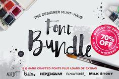 Hand Drawn Font Bundle - %70 OFF by Flycatcher Design on Creative Market