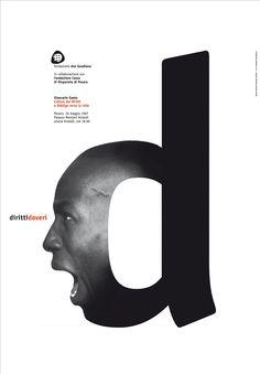 diritti e doveri poster (rights and duty) 1997, from a photograph by Albert Watson, client: Fondazione Don Gaudiano designed by leonardo sonnoli