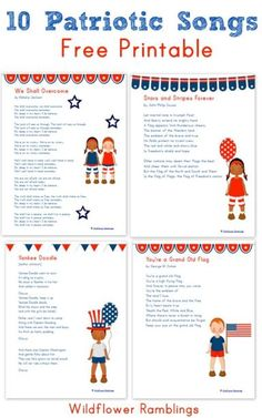 10 Patriotic Songs for Children. Perfect for a July 4th with kids!