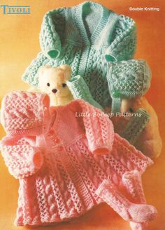 Tivoli 888 Baby Matinee Cardigan/Coat, Bonnet and Socks to knit - PDF knitting pattern