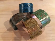 A nice collection of copper cuffs with beautiful patina finishes. shop.sassyexpressions.net