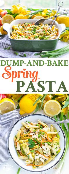 You don't even have to boil the pasta -- this DUMP-AND-BAKE SPRING PASTA is a healthy one pot meal! Chicken Breast Recipes | Healthy Recipes | Dinner Ideas | Healthy Dinner #pasta #chicken #asparagus #artichokes #TheSeasonedMom