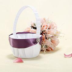 Cesta de la flor de raso blanco con púrpura cinta Sash – EUR € 13.60