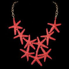 GORGEOUS Necklace STARFISH Metal Jewelry SEASHELL Tiki Style Gold Bronze Red Green dress jacket vlv  Rockabilly  1940 1950 1960 style
