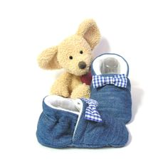 Chaussons bébé bleus en jean doublés en polaire avec noeud papillon 3/6 mois…