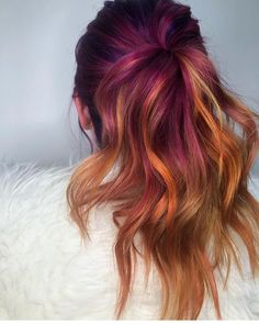 is the artist. Pulp Riot is the paint. Pulp Riot Hair Color, Vivid Hair Color, Hot Hair Colors, Bright Hair Colors, Cool Hair Color, Rainbow Hair Highlights, Hip Hair, Great Hair, Fall Hair