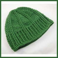 $1.99 Men's Ribbed Hat  Designed by Julie A. Bolduc    This soft and warm hat is made with Simply Soft yarn by Caron but can be made with any soft worsted weight yarn. It is fast and easy to make and I ended up making 8 of these in about 5 days for Christmas in 2012.