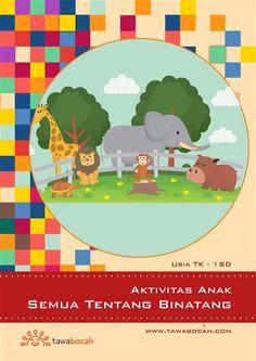 AC-008 Aktivitas Anak - Semua Tentang Binatang  Buku aktivitas anak TK/SD kelas 1. Berisi kumpulan aktivitas anak mengenai binatang dalam gambar kartu yang lucu. Ajari anak mengenal nama binatang, menebak nama binatang dari teka-teki silang, dan banyak lagi. Cocok untuk beraktivitas si kecil di dalam rumah, sambil melatih motorik halus anak.  Terdiri atas:      permainan menebak nama hewan dengan teka teki silang     permainan menebak nama hewan dengan kalimat     latihan menulis nama hewan