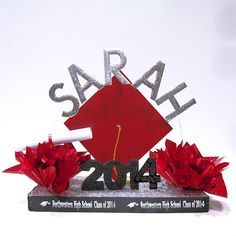 Make your own Personalized Graduation Centerpiece with this Commencement Celebration Centerpiece Kit from www.awesomeevent.com